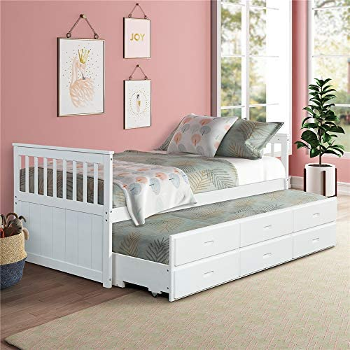 Solid Wood Mate s Captain s Bed Twin with Storage Drawers and Trundle White
