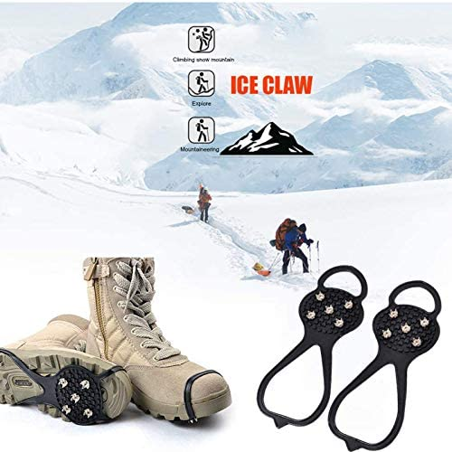 Ice Cleats,Universal Ice Fishing Gear Crampons Shoe Traction Cleats Anti Slip Snow Grips Non-Slip Gripper Over Shoe Boot Rubber Crampons with 5 Steel Studs Crampon