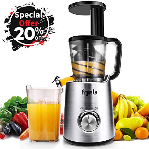 Argus Le Masticating Juicer, Slow Juice Extractor for Higher Nutrient and Vitamins, Easy to Clean Cold Press Juicer for All Fruits and Vegetables (Brushed Sliver) For Sale