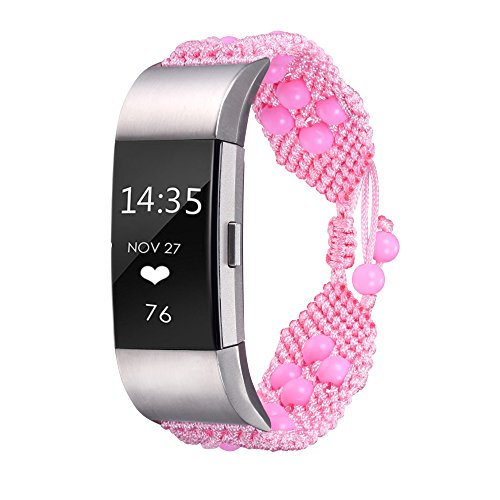 Bandmax Compatible Fitbit Charge 2 Bands Pink Beads, Women Knit Nylon Bracelet Sport Strap Replacement Bands Mix Flexible Drawstring Clasp Compatible Fitbit Charge 2