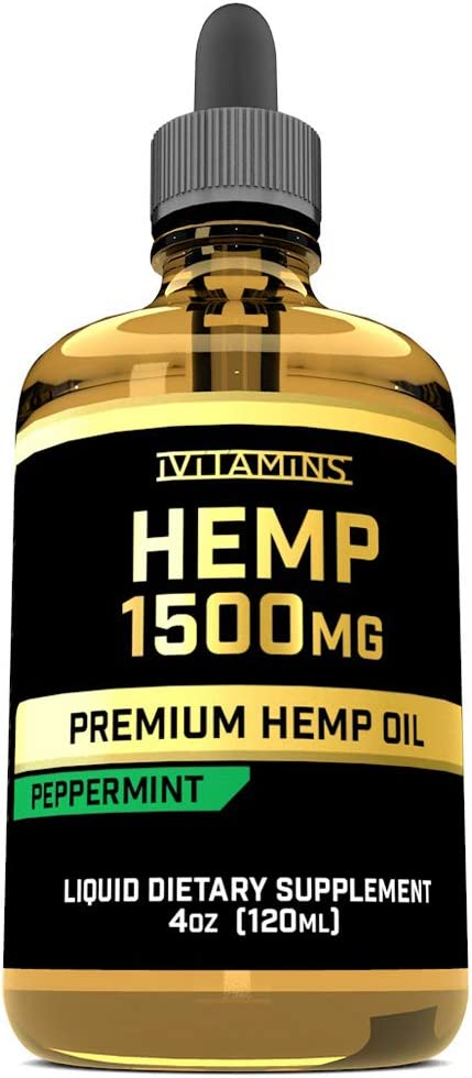 iVitamins Hemp Seed Oil for Pain & Anxiety Relief :: 1,500mg 4 fl oz :: May Help with Pain, Mood, Sleep, Migraines, Heart Health and More :: Hemp Oil :: Rich in Omega 3,6,9 :: Peppermint Flavor