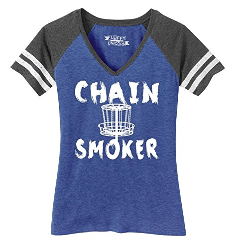 Ladies Game V-Neck Tee Chain Smoker Funny Disc Golf Frisbee Shirt Heathered True Royal/Heathered Charcoal XS -