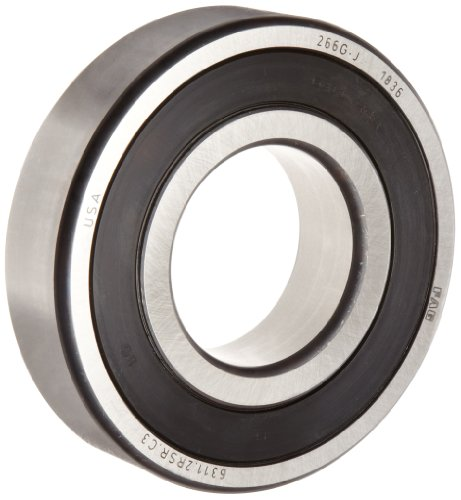 FAG 6311-2RSR-C3 Deep Groove Ball Bearing, Single Row, Double Sealed, Steel Cage, C3 Clearance, Metric, 55mm ID, 120mm OD, 29mm Width, 3600 rpm Maximum Rotational Speed, 10600 lbf Static Load Capacity, 17000 lbf Dynamic Load Capacity