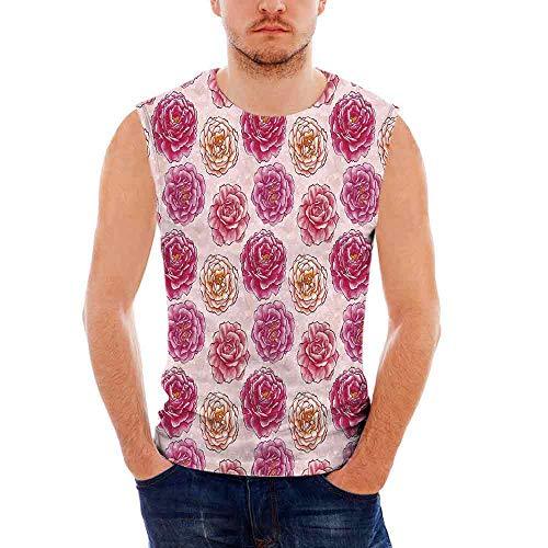 Mens Sleeveless Floral T- Shirt,Romantic Rose Petals Fragrance Bouquets Love Cla