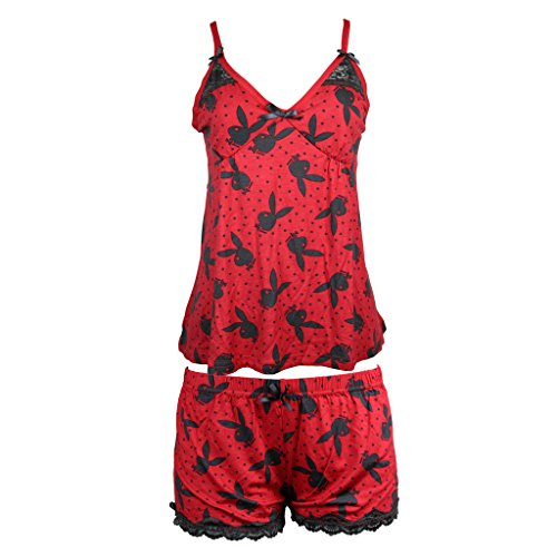 (Playboy Women's Logo Print Polka Dot Cami Tank and Shorts Pajama Sleepwear Set Black Large)