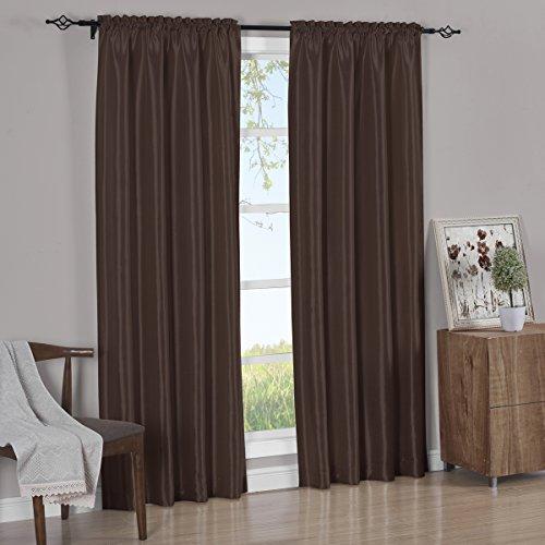 brown faux silk curtain panels - 2