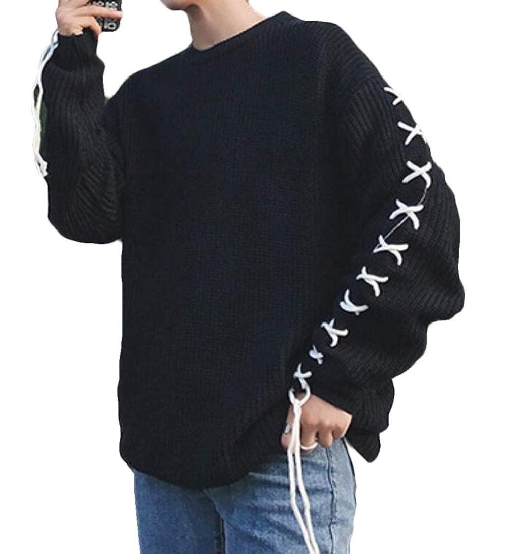 KLJR Men Plus Size Autumn Long Sleeve Round Neck Knit Pullover Sweater