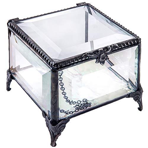 - J Devlin Box 326 Beveled Glass Box Vintage Decorative Keepsake Trinket Box Gift
