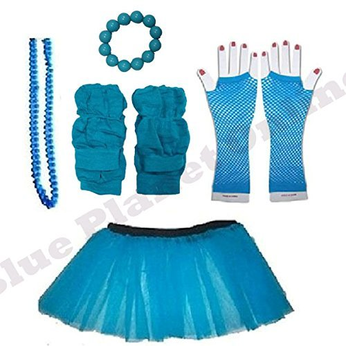 Plus Size 16-24 - Neon Tutu Skirt, Fishnet Gloves, Legwarmers, Beads Necklace & Chunky Bracelet 1980s Fancy Dress (Neon Blue) by Blue Planet (80s Fancy Dress Plus Size)