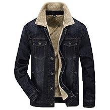Jinmen Men's Winter Fashion Denim Jacket Warm Coat With Cashmere Lined