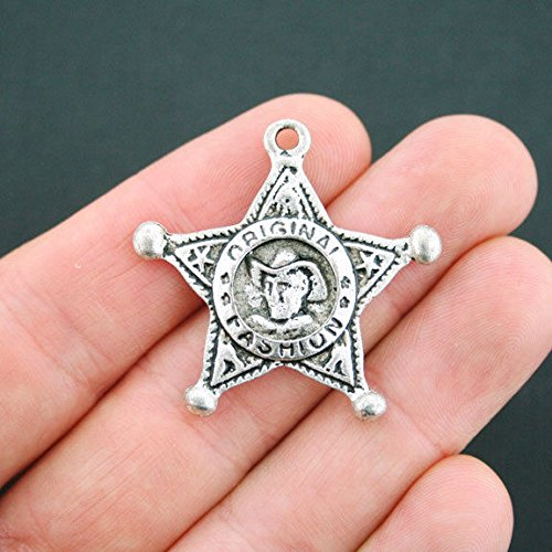 (Extensive Collection of Charm 2 Sheriff Badge Charms Antique Silver Tone - SC4939 Express Yourself)