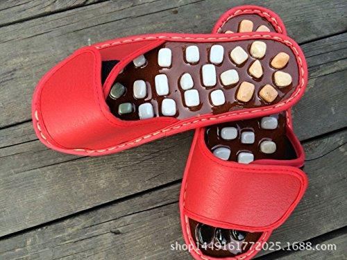 Pantoufles 35 Massage De Jade JIA De D'agate De De Peau Red D'agrafe Pierre HONG aw5xqZg