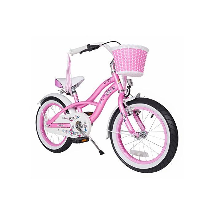 Bikestar   Bicicleta para niños y niñas 16 Pulgadas   Color Rosa   A Partir de 4 años   16″ Edición Cruiser 2018