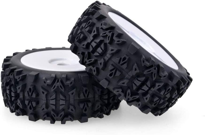 Dcolor 4 x 17mm Hub Wheel Rim /& Deep Tooth Tire for 1//8 Off-Road RC Car Buggy Redcat Team Losi VRX HPI Kyosho HSP Hobao Carson