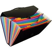 Viquel Rainbow Class - Valisette de rangement pour document A4 - Trieur accordéon 24 compartiments pour transporter ses papiers - Dos de 12cm - Fermeture avec tuck noir