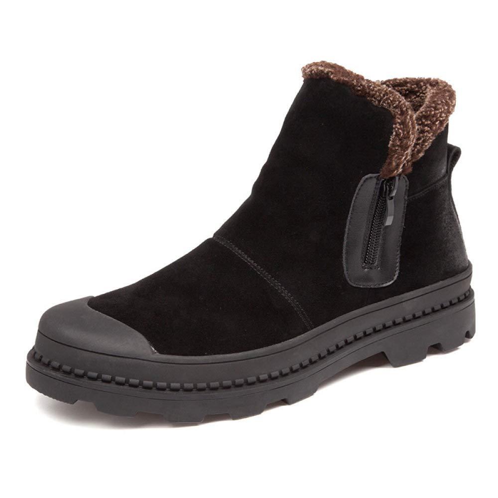 WANG-LONG Schuhe Herren Martin Stiefel Winter Dickes Leder Warmes Leder Dickes Retro Hoch Um Schnee Zu Helfen Mode Lässig Trend,schwarz-40 815503