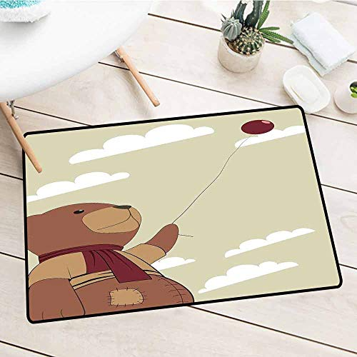Free Clipart Teddy Bears - NineHuiTechnology Waterproof, Easy Clean, Low-Profile Mats, Cartoon, A Melancholic Teddy Bear with Scarf Holding a Balloon Clouds in The Sky Clipart, Beige Cinnamon, 35