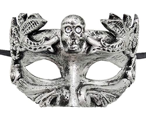 Mens Masquerade Mask Vintage Greek Roman Mask Venetian Party Mask Halloween Mardi Gras Mask (C Skull Silver Black)]()