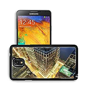 Architecture Urban Buildings Night Lighted View Samsung Note 3 N9000 Snap Cover Premium Aluminium Design Back Plate Case Open Ports Customized Made to Order Support Ready 5 14/16 Inch (150mm) X 3 2/16 Inch (80mm) X 11/16 Inch (17mm) MSD N3 Note 3 Professi