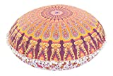 Large 32'' Round Pillow Cover, Decorative Mandala Pillow Sham, Indian Bohemian Ottoman Poufs, Pom Pom Pillow Cases, Outdoor Cushion Cover (Pattern 4)