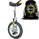 Qu-Ax Unicycles 12'' Luxus Kid's Trainer Unicycle In Black/Yellow For Kids + Young Adults + Flames N' Games Travel Bag!