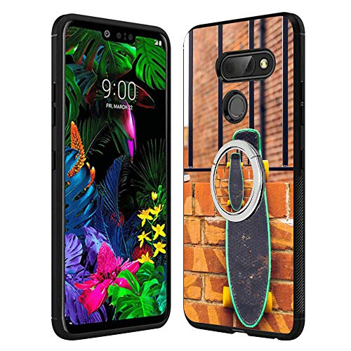 Designed Skateboard LG G8 ThinQ Case with Buckle Ring 360¡ã Rotatable Silvery Durable Ring Buckle, TPU Black Antiskid Tread Phone Case for LG G8 ()