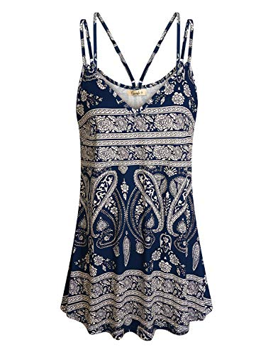 Cyanstyle Tunics for Women Ladies Patterned Cami Tops V Neck Tanks Sleeveless Loose Camisole Blouse Geometrics Elegant Cozy Vacation Printed Cozy Tunics for Office Navy Blue L (Patterned Tops)