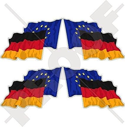 EuropÄische Union Deutschland Wehende Flagge Paar Eu De Europa Deutsch 50mm Auto Motorrad Aufkleber X4 Vinyl Stickers Links Rechts Garten