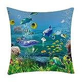 Pgojuni Fresh Style Scenery Printing Pillowcase Fashion Pillow Case Polyester Sofa Car Cushion Cover Home Decor Cover Pillow Case1pc (45cm X 45cm) (D)