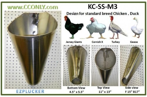 M3 Stainless Steel Chicken / Poultry Processing Restraining Killing Funnels Cones