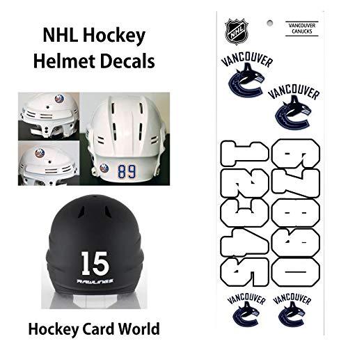 Vancouver Canucks (WHITE) NHL Hockey Helmet Decals Sticker Sheet ()