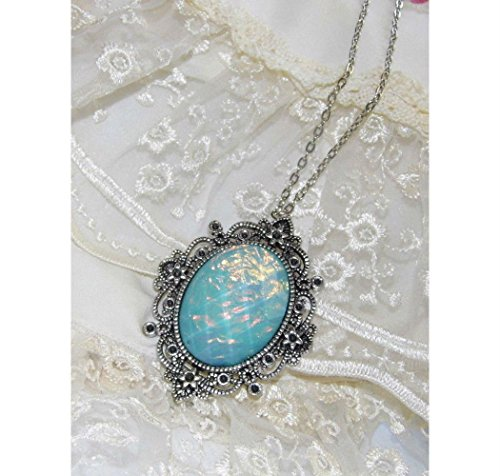 AQUA BLUE fire opal victorian PENDANT MOONSTONE Necklace VALENTINE MOM (Fire Moonstone Pendant)