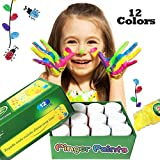 Happlee Washable Finger Paint for Toddlers, 12 Cols Non-Toxic Kid's Paint for Art Supply 12x30ml(1.02 fl.oz)