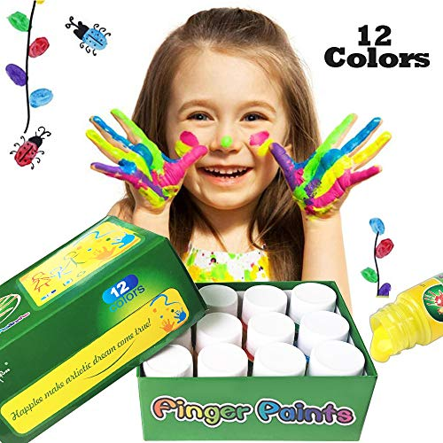 (Happlee 12 Colors Finger Paint for Kids Washable Paint Set for Toddlers Non-Toxic Kid's Fingerpaints Supplies 12x30ml(1.02 fl.oz))