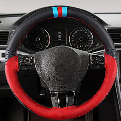 QianBao Universal Genuine Leather Car Steering Wheel Cover 15 Inch Diameter by Hand Sewing Wheel Stitch On Wrap,Sports Black and Red