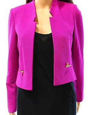 Calvin Klein Womens Petite Open-Front Jacket Purple 10P