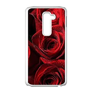 Durable Material Phone Case With Rose Image On The Back For LG G2