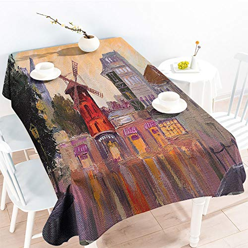 (Jinguizi Oil-Proof Spill-Proof Painting of Moulin Rouge in Paris City Centre of Love Vintage France Artprint Homeindoor Outdoor TableclothMulti(54 by 90 Inch Oblong Rectangular))