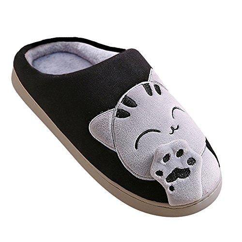 Zampa Caldo Nero Ciabatte Pantofole Unisex Scarpe Cartoon Per Uomini Donna Gatto Peluche Pattini n8Wrxn