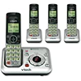 VTech CS6429-4 DECT 6.0 Expandable Cordless Phone with Answering System and Caller ID/Call Waiting, Silver with 4 Handsets