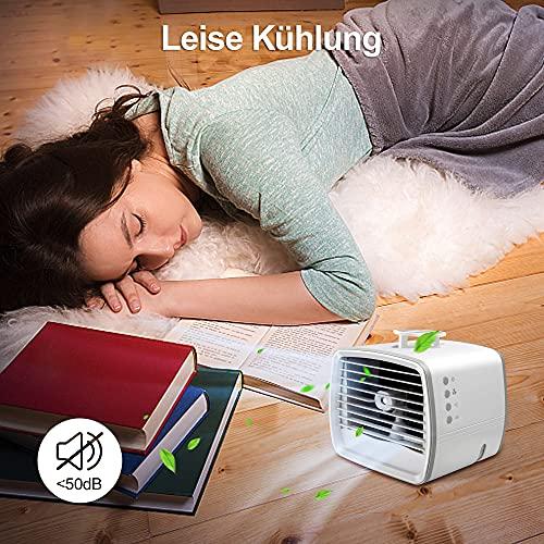 Mini Klimagerät Mobil Leise, 4 In 1 Air Cooler 3 Geschwindigkeitsventilatoren, LED 7 Farben, Luftbefeuchter, Luftkühler können Wasser, Eis setzen, Klimagerät Mobil Wassertank USB Klimaanlagenlüfter