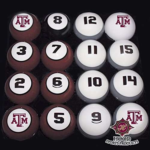 TEXAS A&M AGGIES NCAA Collegiate Billiards Pool Balls Sets College by Southern Game Rooms