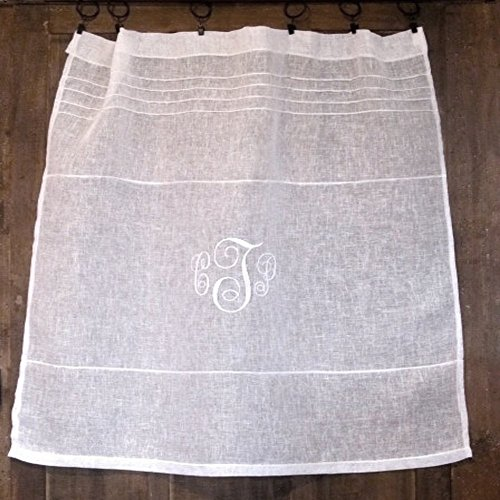 Custom Personalized Sheer Gauze Handmade White Cafe Curtain 24 inch Linen French Kitchen Monogram