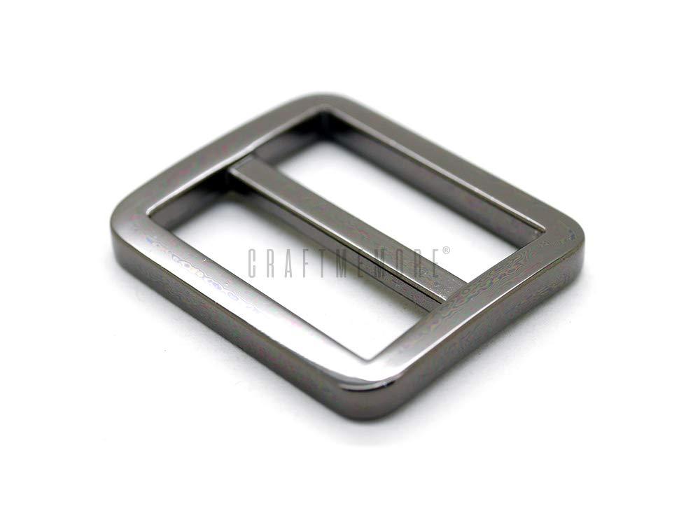 1 1//4 Inches, Gold CRAFTMEmore Flat Metal Slide Buckle Triglide Strap Keeper Leathercraft Bag Belt Adjuster Sliders 6 Pack