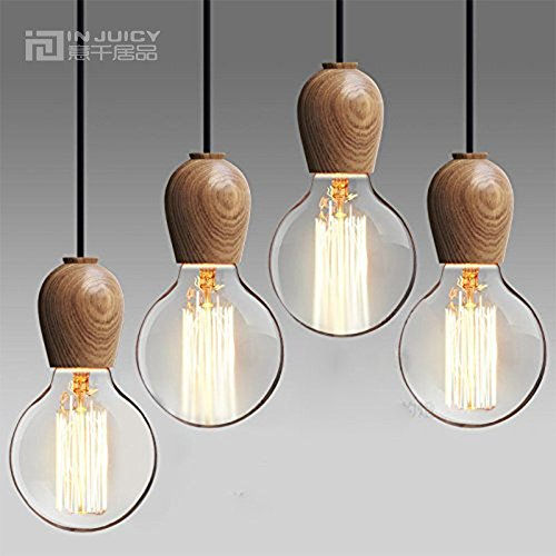 INJUICY Industrial Wooden Pendant Lights, Vintage Ceiling Lamps for Living Room, Children's Bedroom, Dining Room, Cafe