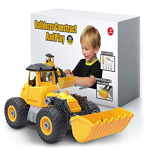 Kidtastic Bulldozer Toy, Take Apart STEM Fun, Ages 3 4 5 & 6 yr, 55 Piece, Construction Truck Engineering Vehicle, Building Play Set for Boys Girls Toddlers
