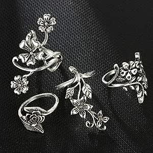 مجموعة خواتم متوسطة الطول من أربع قطع بتصميم هندسي زهور من الفضة