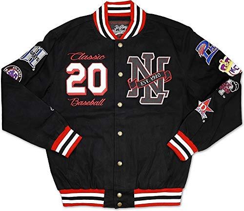 Negro League Baseball Jackets - Cultural Exchange Big Boy Negro League Baseball Commemorative S7 Mens Twill Racing Jacket [Black - L]