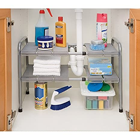 Amazon.com   Seville Classics Expandable Under Sink Shelf With Steel Mesh  And Removable Panels