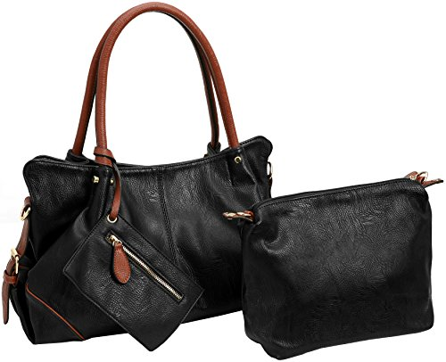 for Set Satchel 3 Leather PU Wallet Holder Black Small Card Women Capacity Large Tote Bag with Kenoor Piece Shoulder Handbag in 7UqYqv